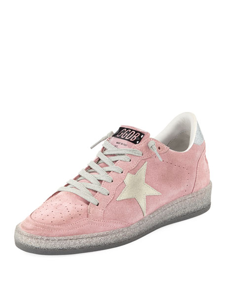 Ball Star Suede Low-Top Sneakers with Glitter-Sole