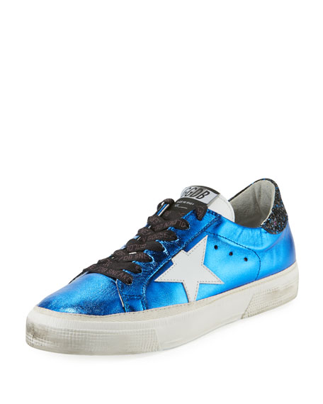 MAY STAR METALLIC LEATHER LOW-TOP PLATFORM SNEAKERS