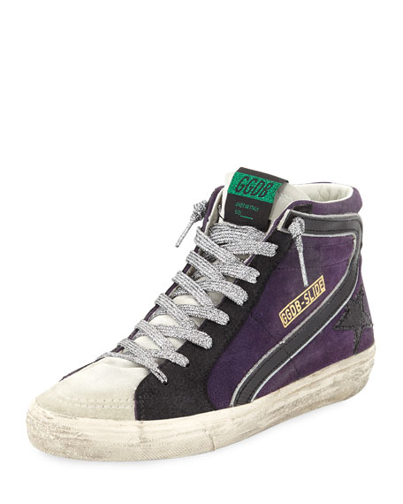 Slide Suede High-Top Sneakers With Metallic Laces in Black/Purple