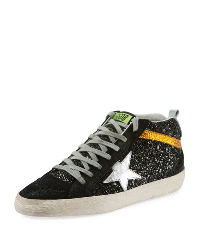 Brogue-Toe Star Glitter Mid-Top Sneakers