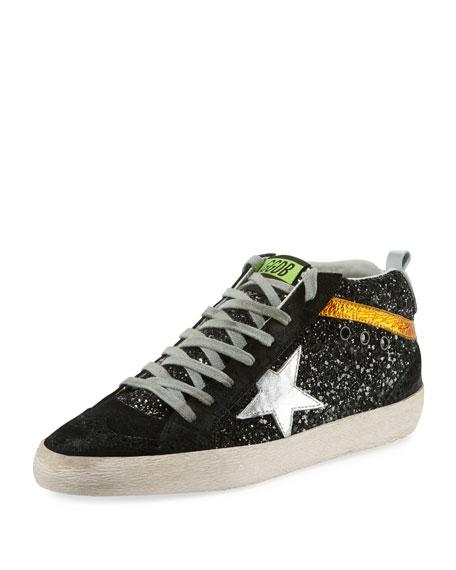 Mid Star Sneaker In Black Glitter/Silver Star