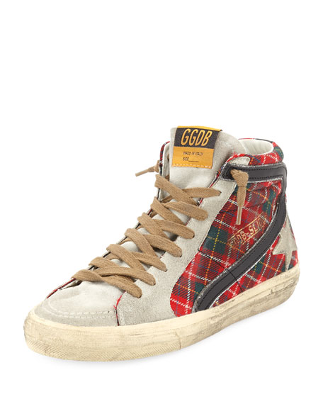SLIDE TARTAN HIGH-TOP SNEAKERS