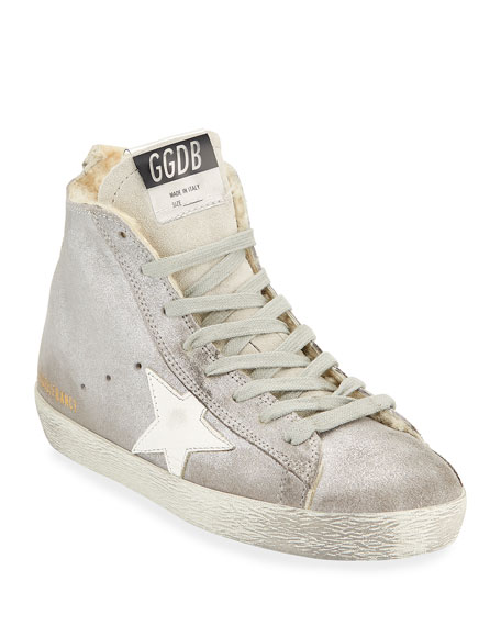 Francy Metallic Leather Star High-Top Sneakers with Fur