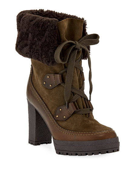 See by Chloe 90mm Fur-Lined Lace-Up Booties