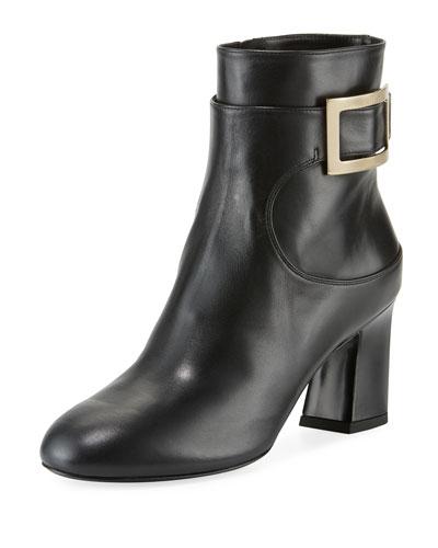 Chunky-Heel Leather Buckle Booties