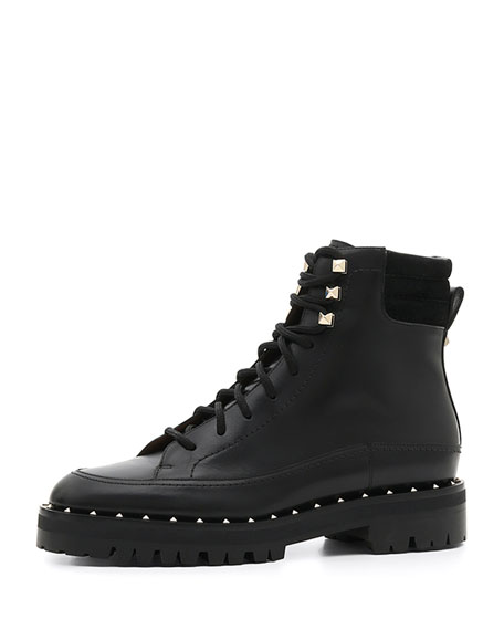 e771b1a55bb Valentino Garavani Soul Rockstud Leather Combat Boots