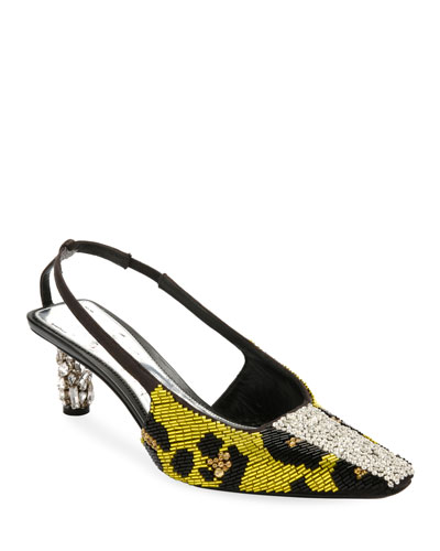Leopard-Beaded Slingback Pumps