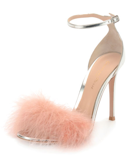 Metallic Leather Ankle-Strap Sandals, Silver