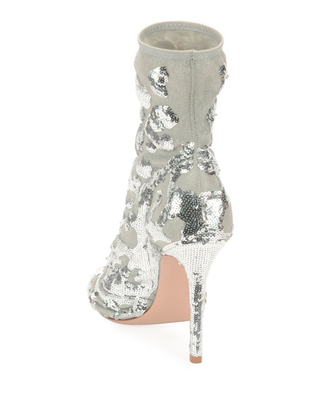 Sequined Mesh Ankle Booties