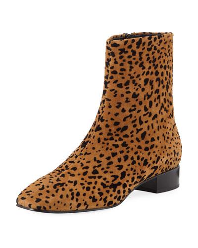Aslen Flat Cheetah-Print Suede Booties