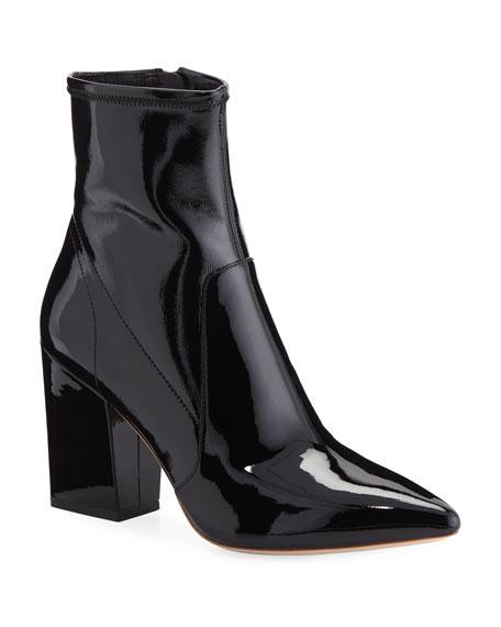 Women'S Isla Patent Leather Block-Heel Booties, Black