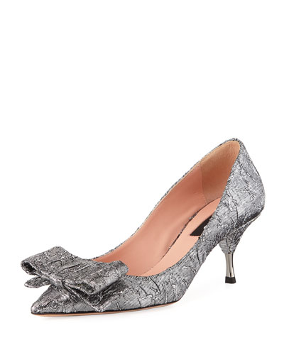Miki Brocade Pumps with Bow