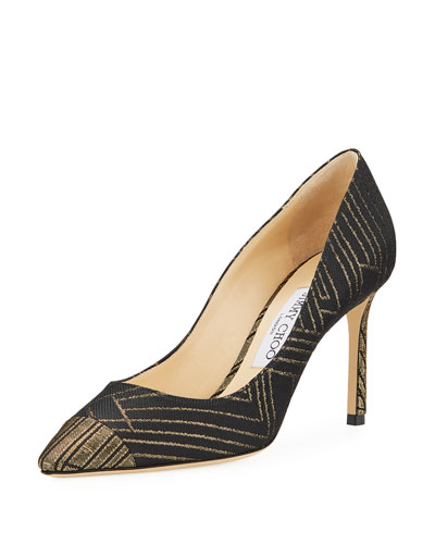 Romy 85mm Metallic Line Jacquard Pumps