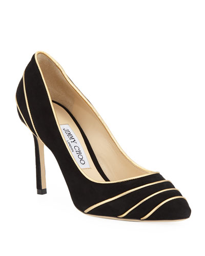 Romy Suede Pumps with Metallic Piping
