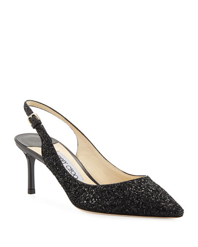 Erin 60mm Coarse Glitter Slingback Pumps