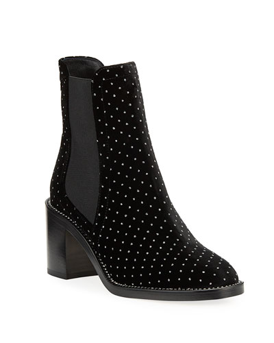Merril Crystal-Stud Block-Heel Booties