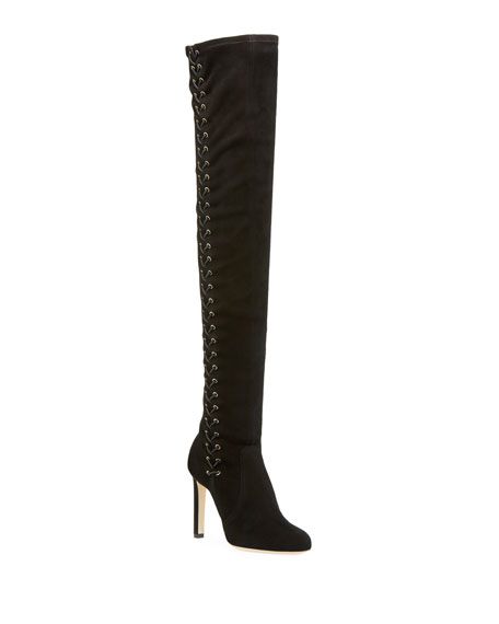 Jimmy Choo Marie Suede Laced-Side Over-The-Knee 100mm Boots