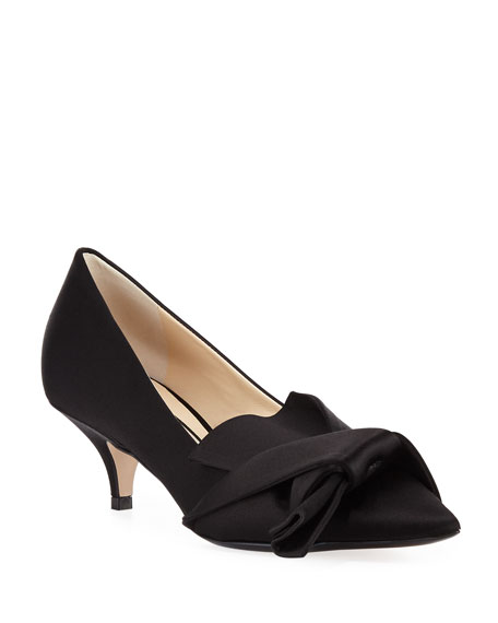 Satin Pumps with Knotted Bow