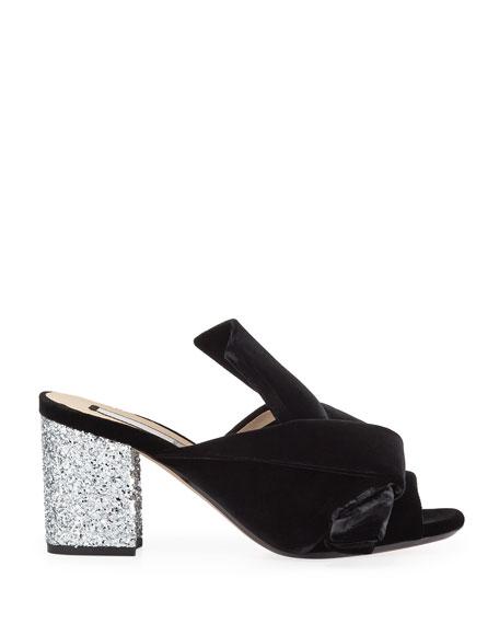 Velvet Block-Heel Sandals