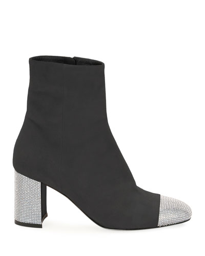 Suede Booties with Crystal Heel & Toe