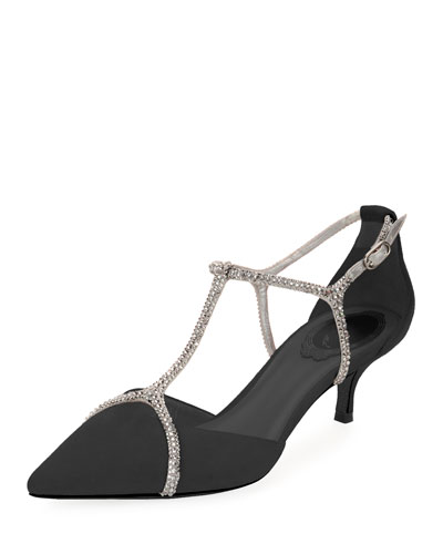 Suede Pumps with Strass Cage
