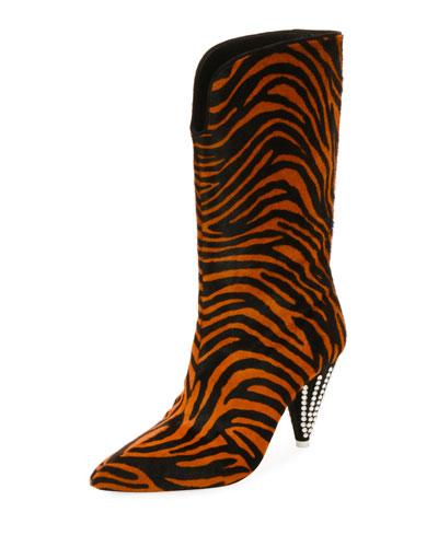 Betta Zebra-Print Tall Boots