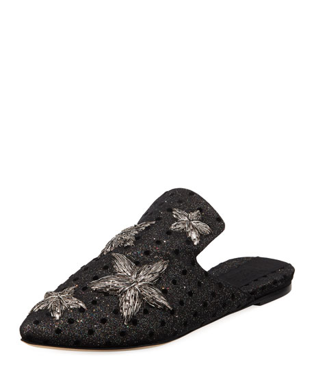 SANAYI313 Stelle Star-Appliqué Lurex Backless Loafers in Silver Multi