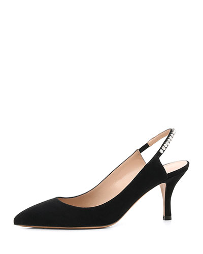 Slingback Pumps with Crystal Trim