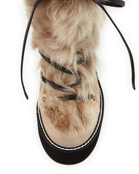 Nikita Mid-Calf Fur Wedge Boots