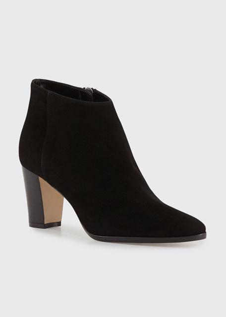 Brustamod Suede Block-Heel Ankle Boots