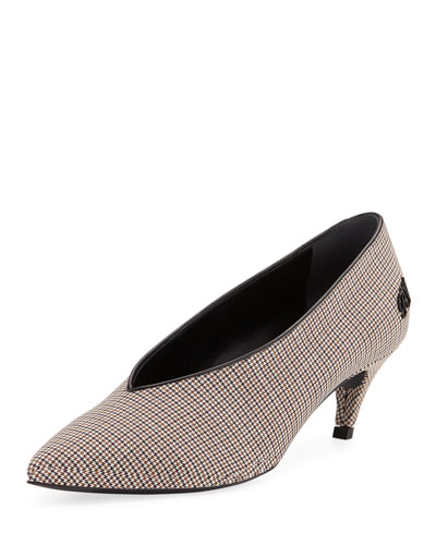 High-Vamp Check Fabric Pumps
