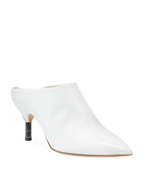 Angelica Calf Slide Mules, White