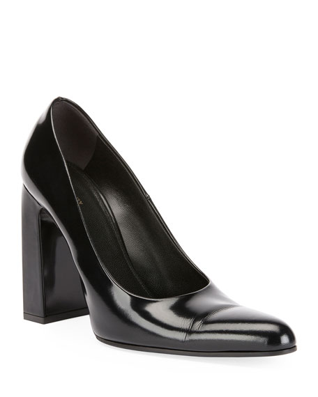 Leather Block-Heel Pumps