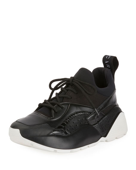 Textured Faux-Leather Trainer Sneakers