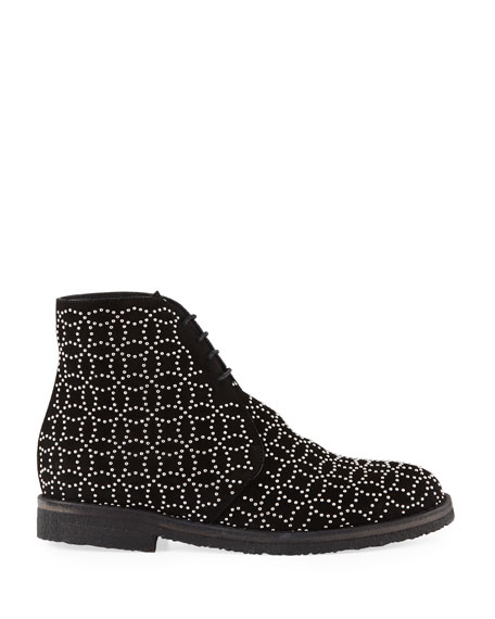 Studded Lace-Up Booties