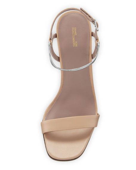 Frankie Leather Sandals with Chain Strap