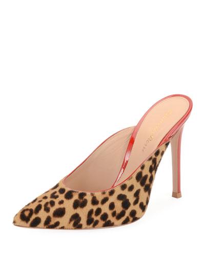 Leopard-Print Calf Hair Mules