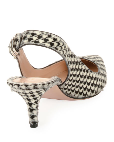 Houndstooth Calf Hair Slingback Pumps