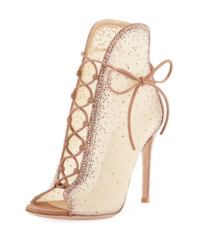 Strass Mesh Lace-Up Booties