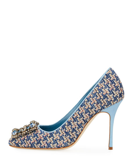 Vazza 105mm Tweed Pumps with Jeweled Buckle Embellishment