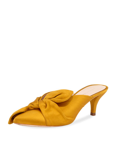 Women'S Jade Pointed-Toe Satin Kitten Heel Mules, Marigold