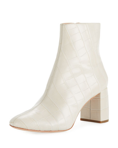 Women'S Cooper Almond Toe Leather High-Heel Booties in Cream