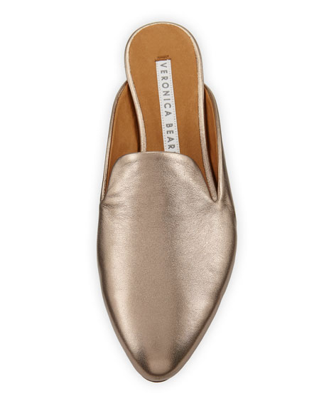 Greyson Flat Metallic Leather Mules