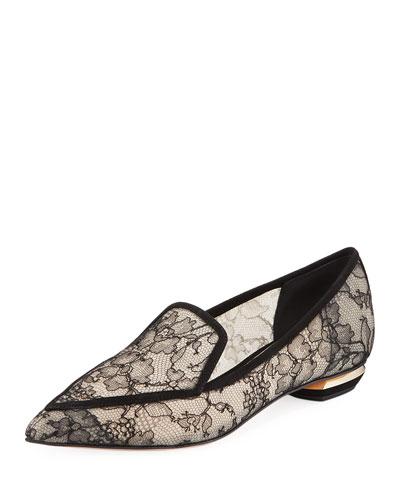 Beya Lace Point-Toe Flat Loafers