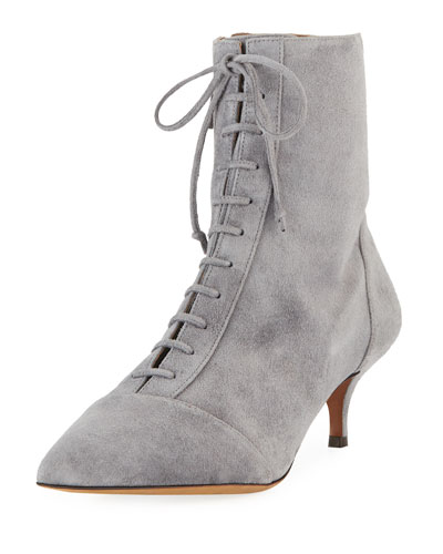 Emmet Suede Point-Toe Lace-Up Ankle Boots