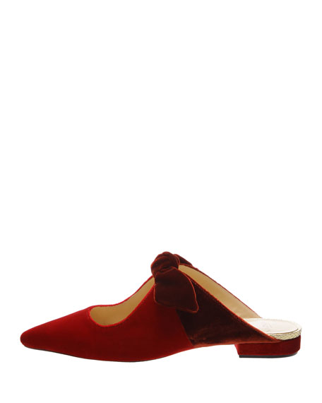 Evelyn Flat Mules with Clarita Bow