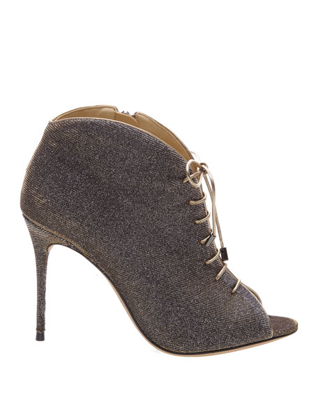 Alexandre Birman Coco Glitter Lace-Up Booties