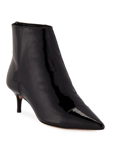 Kittie Leather/Patent Point-Toe Booties