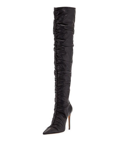 Susanna Scrunch Leather Over-The-Knee Boots
