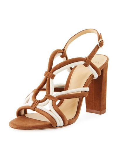 Giovanna Loop Strappy Suede Block-Heel Sandals